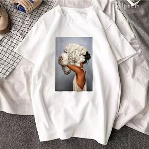 100% Cotton Sexy Floral Print Fashion Tee T Shirt